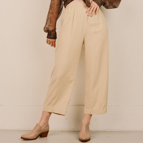 Vintage Creme Silk High Rise Trousers / S