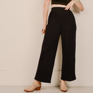 Vintage Charcoal Knit Wide Leg High Rise Trousers / S