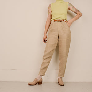 Vintage Oatmeal Linen High Rise Tapered Trousers / S - Closed Caption