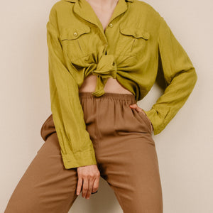 Vintage Butterscotch Silk High Rise Trousers / S - Closed Caption