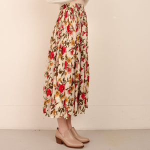 Vintage Peach Floral Flowy Maxi Skirt / XS/S - Closed Caption