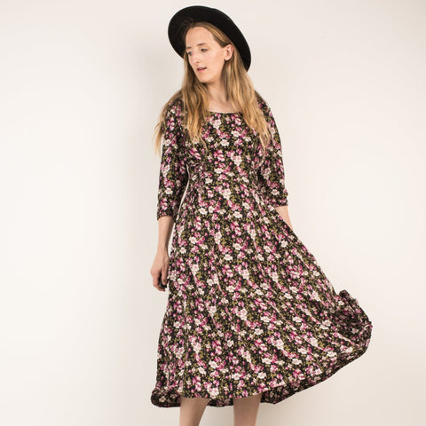 Vintage Black + Cherry Blossom Floral Maxi Dress / S