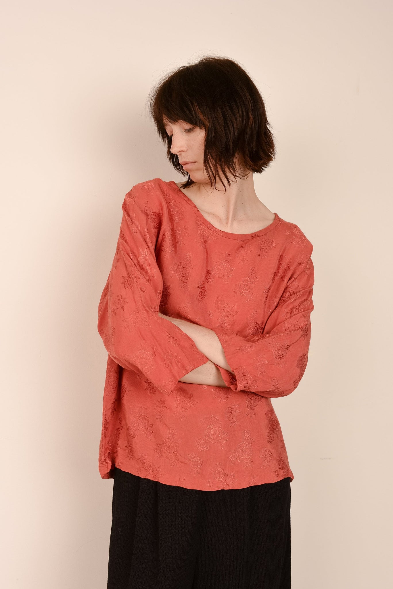 Vintage Floral Rust Oversized Shirt / S - Closed Caption