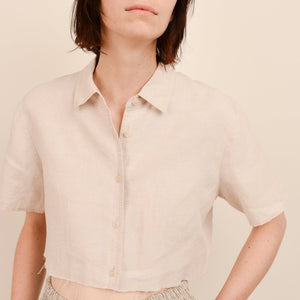 Vintage Oatmeal Linen Cropped Blouse / S - Closed Caption