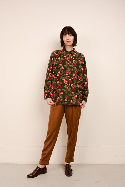 Vintage Hunter Green Floral Corduroy Shirt / S