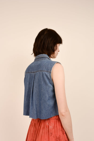 Vintage Denim Blue Sleeveless Cropped Top / S