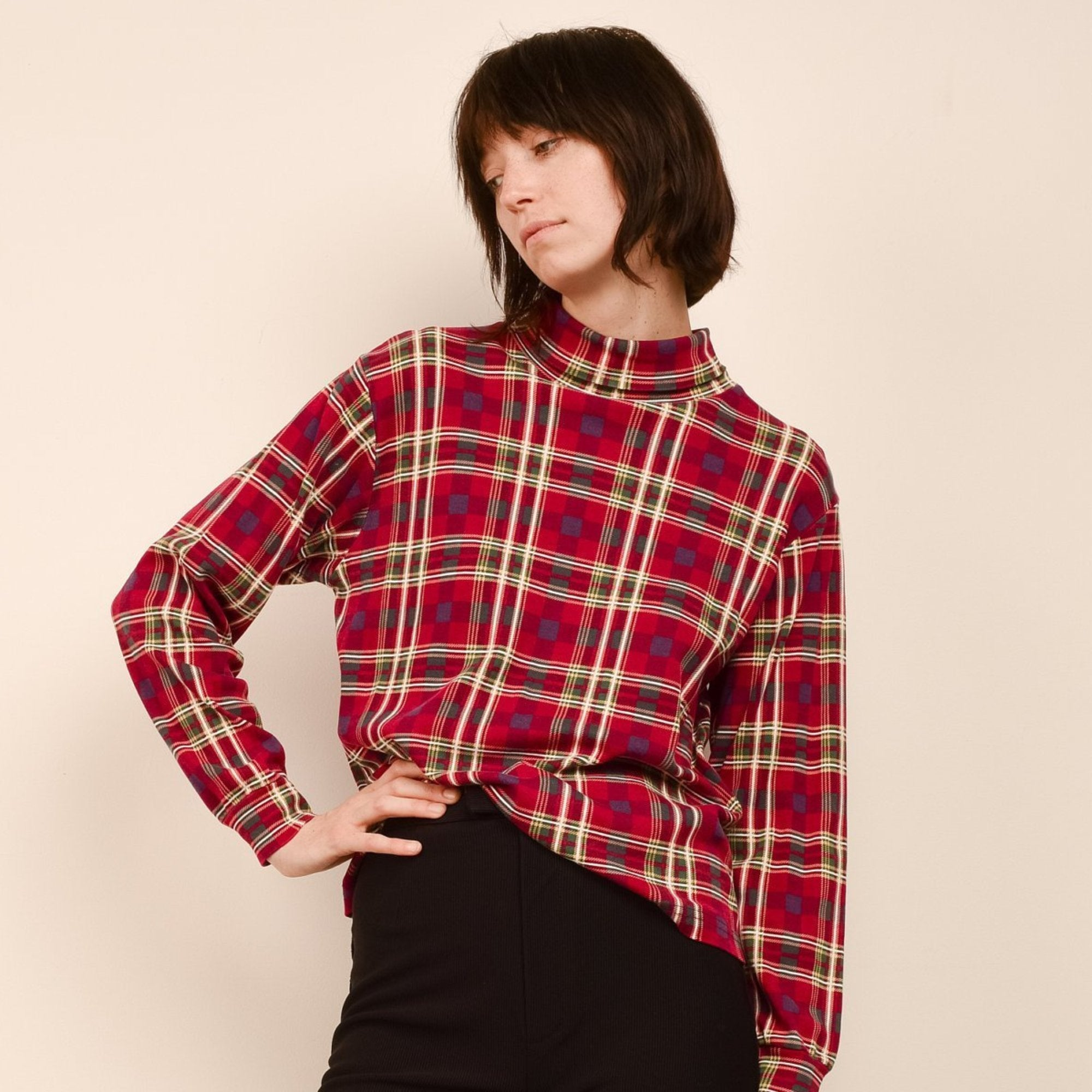 Vintage Red Plaid Knit Turtleneck Sweater / S