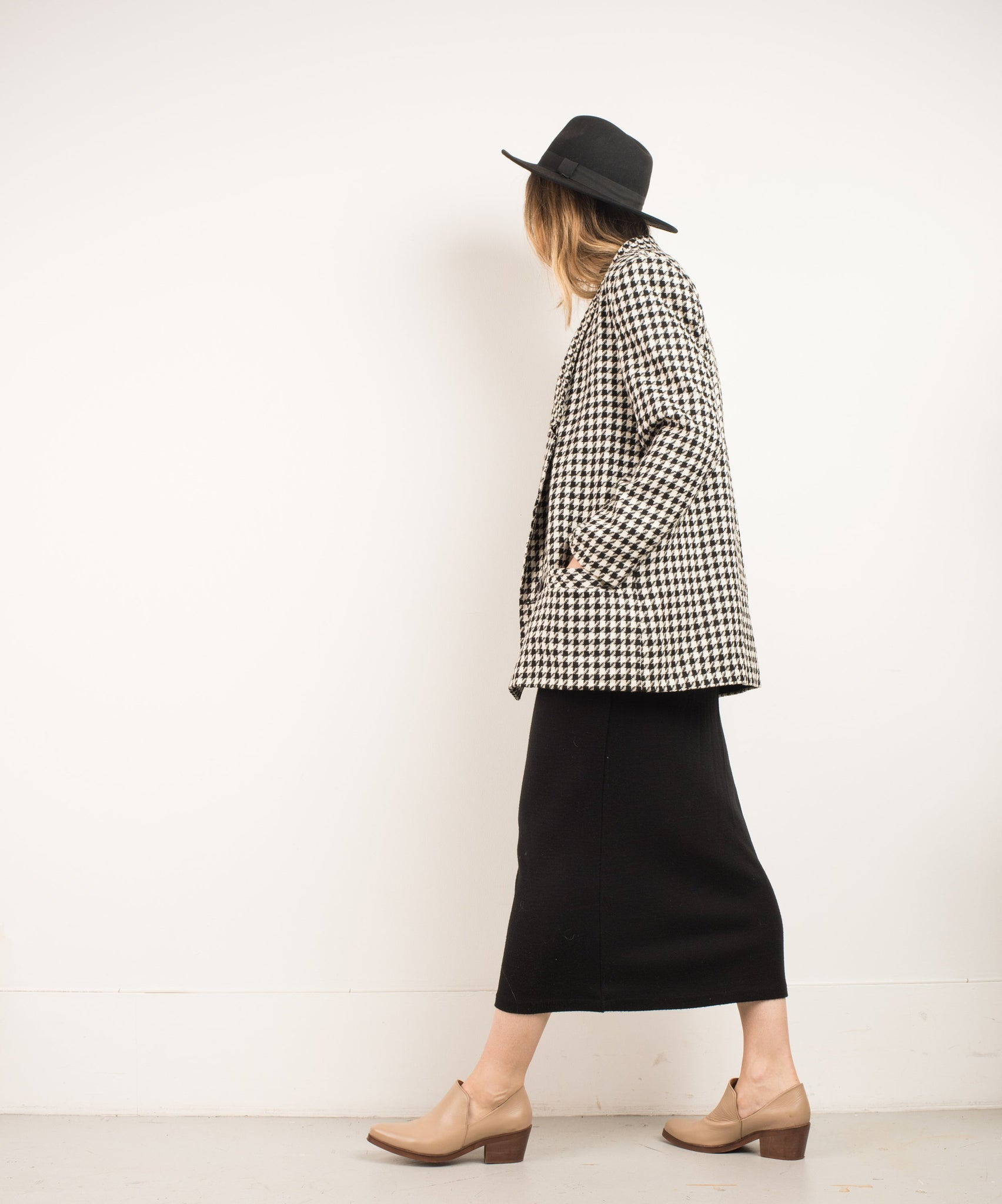 Vintage Houndstooth Wool Oversized Blazer / S - Closed Caption