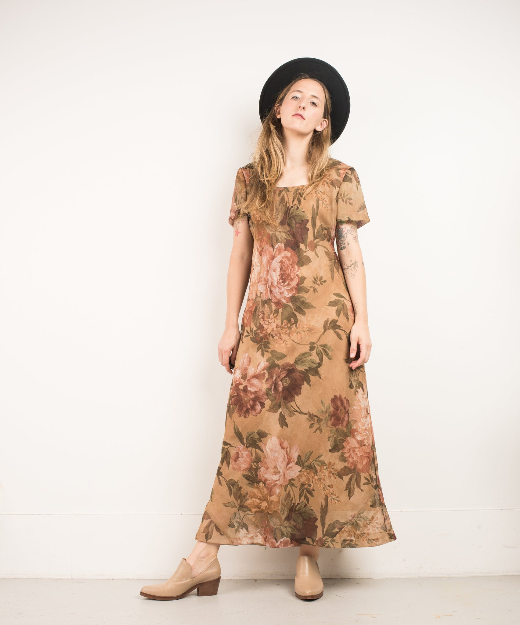 Vintage Gold Floral Crushed Maxi Dress / S