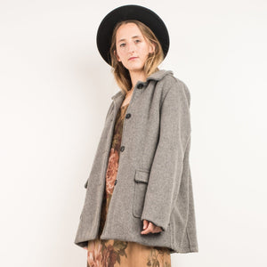 Vintage Grey Wool Coat / S