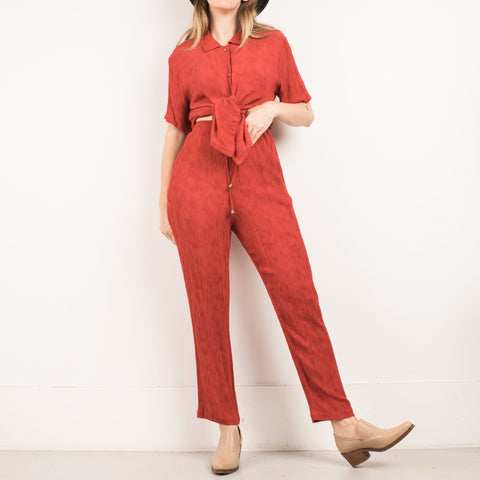 Vintage Rust Crinkle Trouser + Blouse Set / S