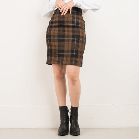 Vintage Coffee Plaid Wool Pencil Skirt / S/M
