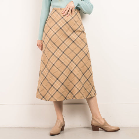 Vintage Butterscotch Plaid High Waist Wool Skirt / S