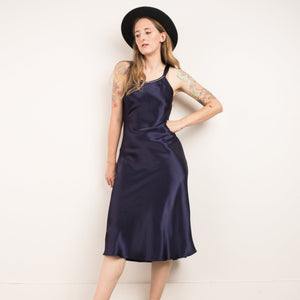 Vintage Midnight Blue Slip Dress / S