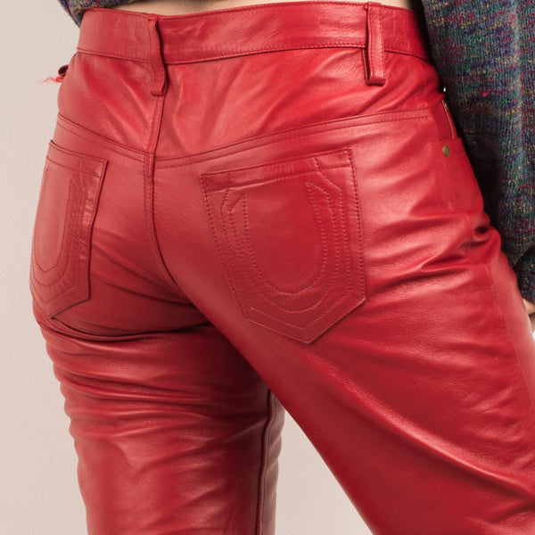 Vintage Red Leather Pants / M