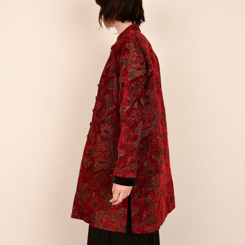 Vintage Red Floral Tapestry Brocade Floral Coat / S