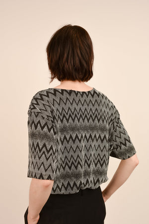 Vintage Zig Zag Faux Beaded Oversized Blouse / S
