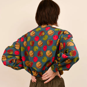 Vintage Teal Apple Blouse / S - Closed Caption