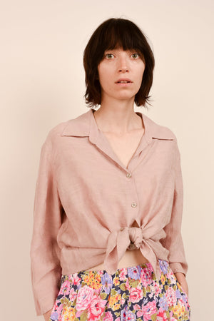 Vintage Dusty Rose Oversized Floral Silk + Linen Blouse / S