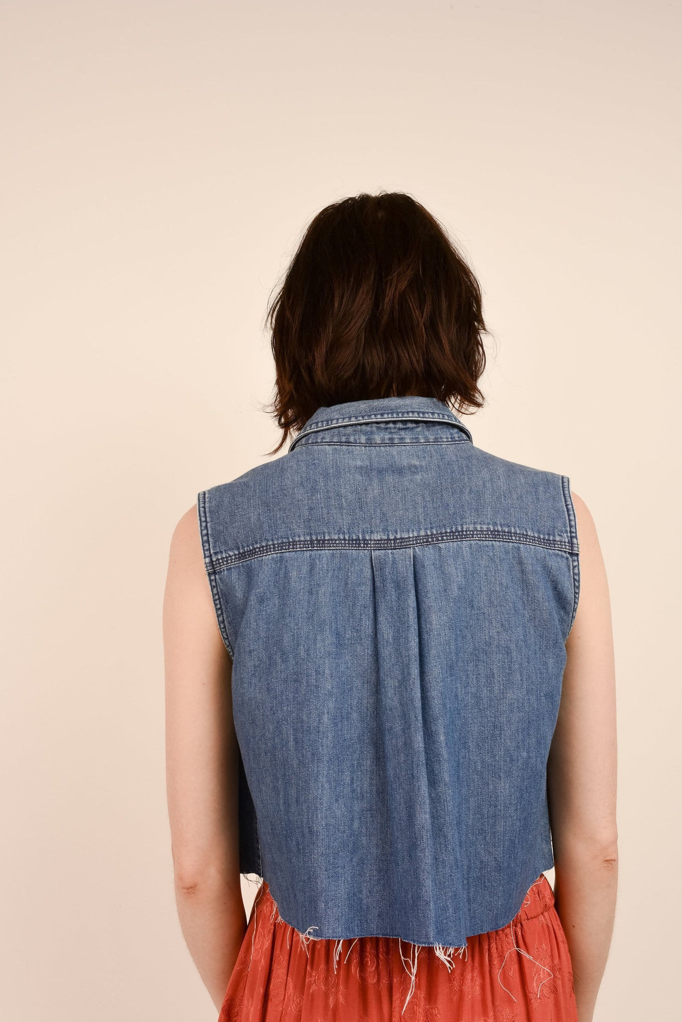 Vintage Denim Blue Sleeveless Cropped Top / S - Closed Caption