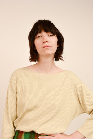Vintage Light Beige Ribbed Knit Oversized Sweater / S