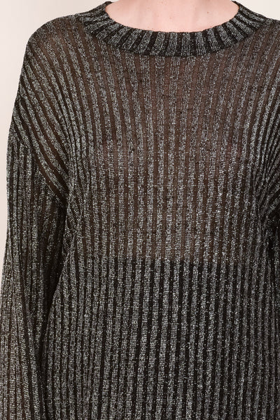 Vintage Oversized Metallic Ribbed Knit Sheer Sweater /S