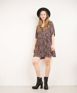 Vintage Oversized Floral Flowy Dress / S - Closed Caption