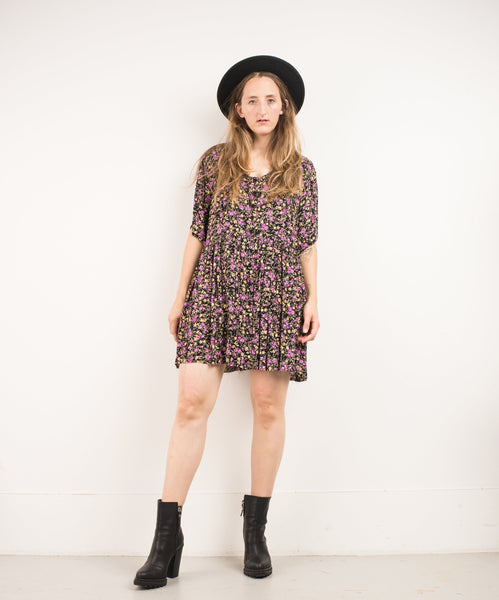Vintage Oversized Floral Flowy Dress / S
