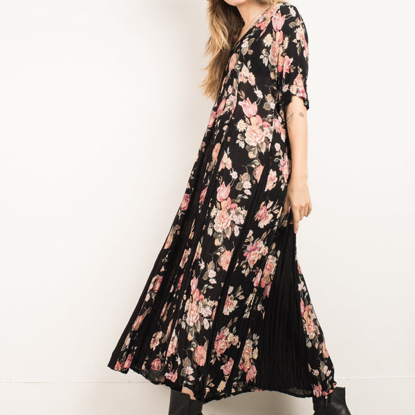 Vintage Floral Black and Pink Maxi Dress / S