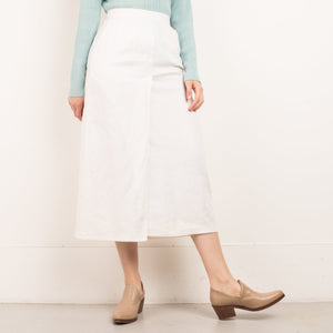 Vintage White Linen Faux Wrap Skirt / S