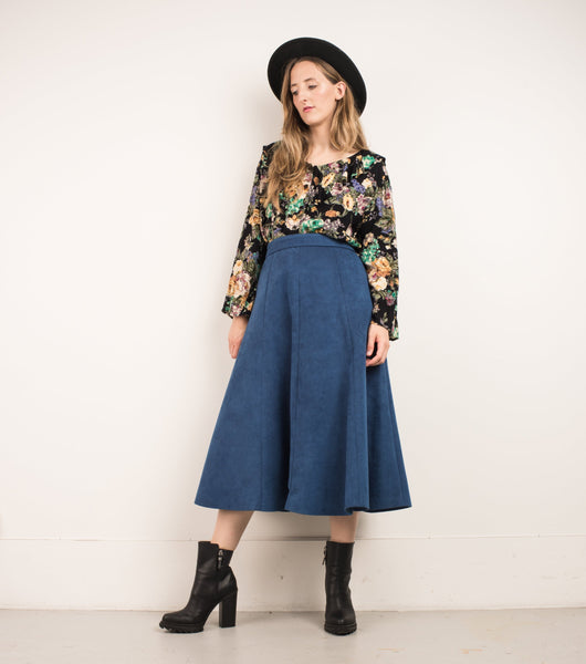 Vintage Blueberry Flared Faux Suede Skirt / S/M