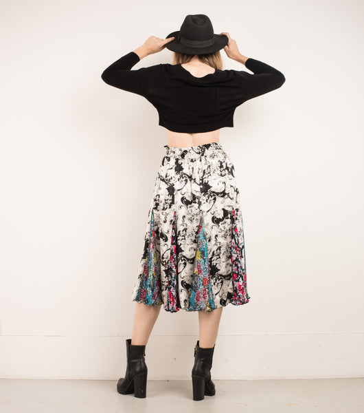 Vintage Black Slinky Cropped Blouse / S