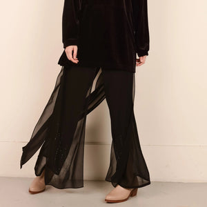 Elegant Semi Sheer Black Dress Pants / S/M