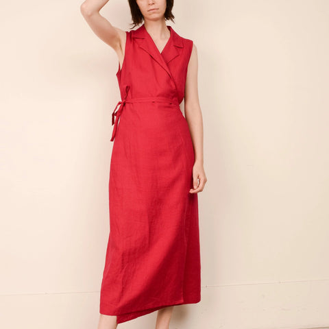 Vintage Red Linen Luxe Wrap Dress / XS-M