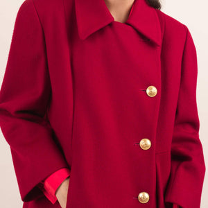 Vintage Red Swing Overcoat / S