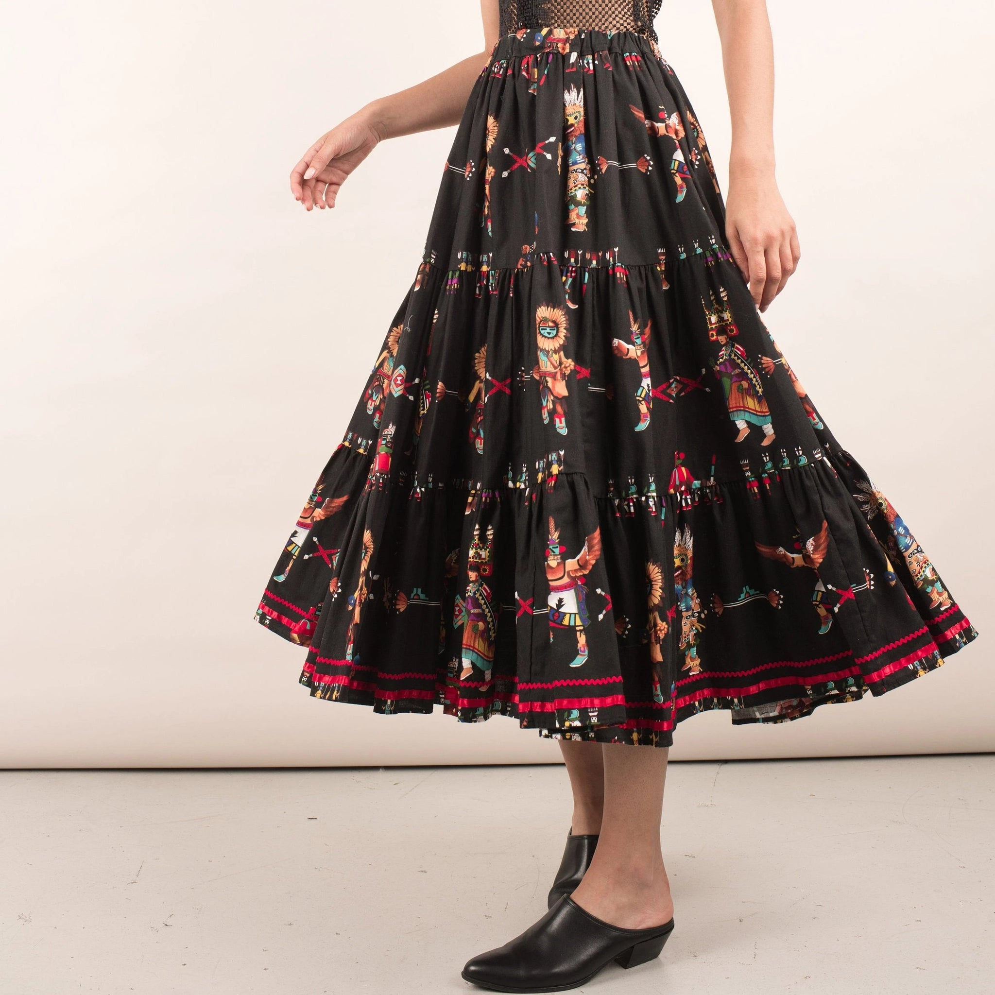 Vintage Tiered Native Peasant Skirt / S