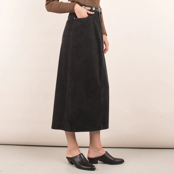 Vintage Midi Black Denim Skirt / S/M