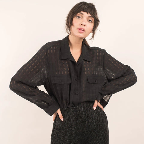 Vintage Semi Sheer Oversized Shirt / S/M/L