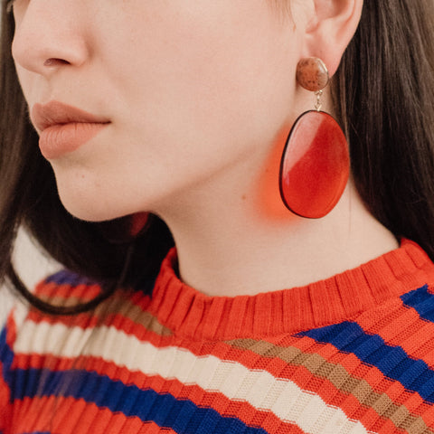 70s Inspired Wine Red Geometric Statement Earrings