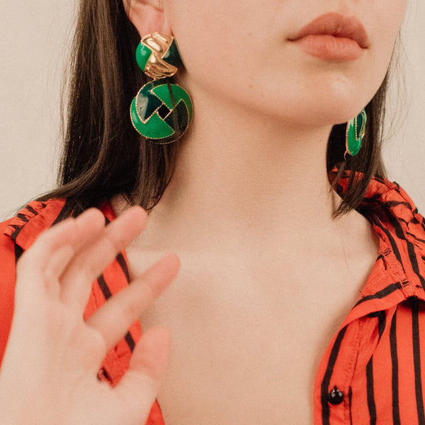 Green and Gold Chunky Statement Earrings