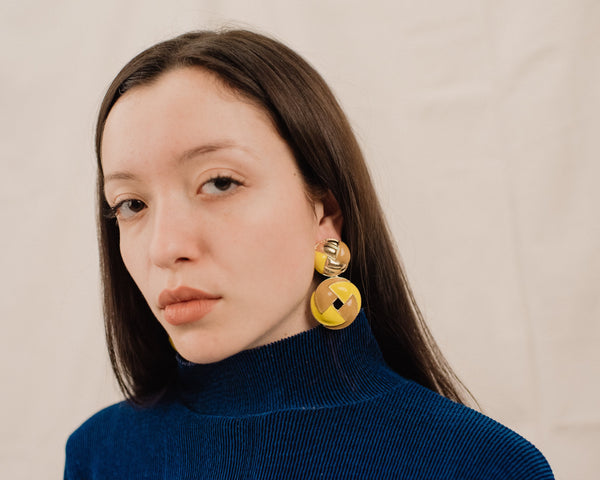 Yellow and Gold Chunky Statement Earrings