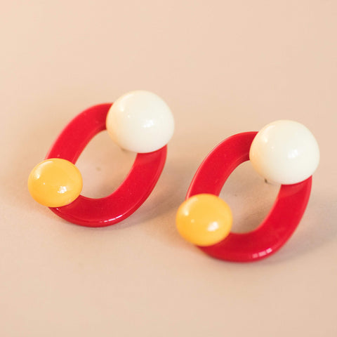Red Geometric Pop Halfmoon Earrings