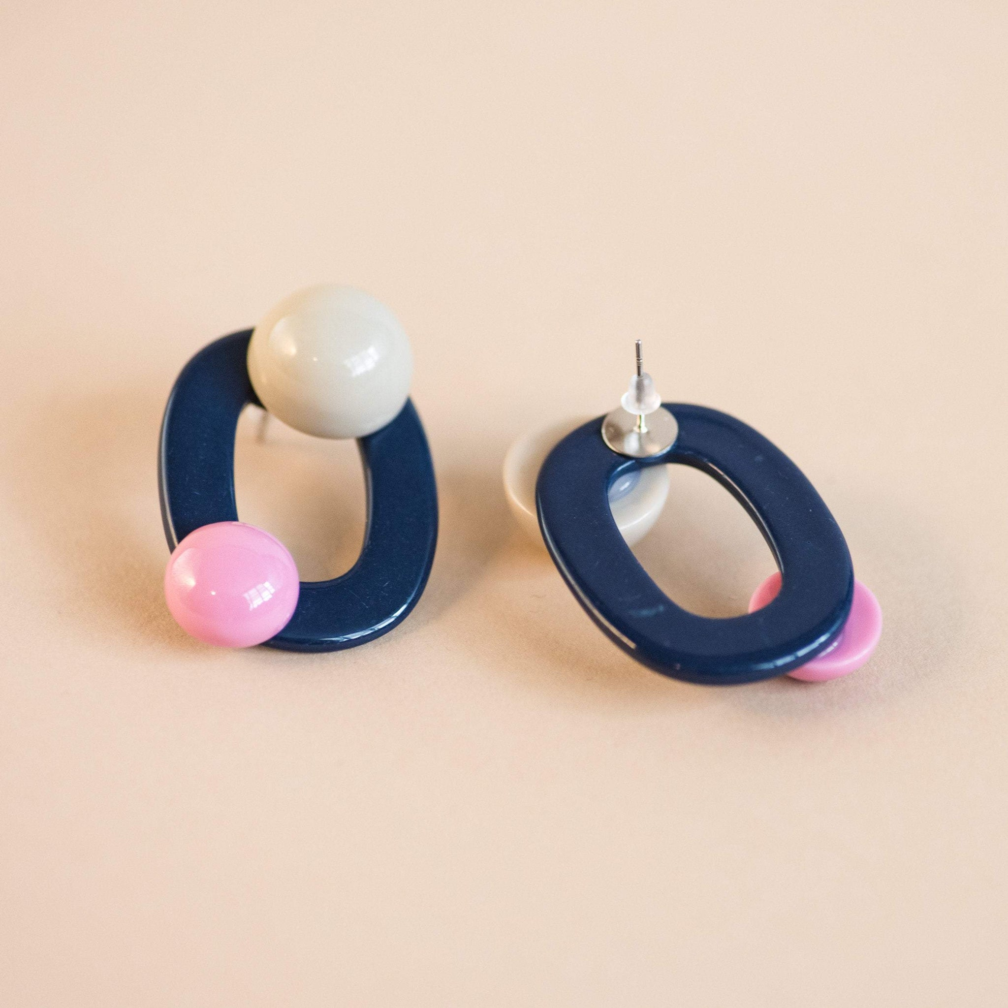 Navy Geometric Pastel Halfmoon Earrings