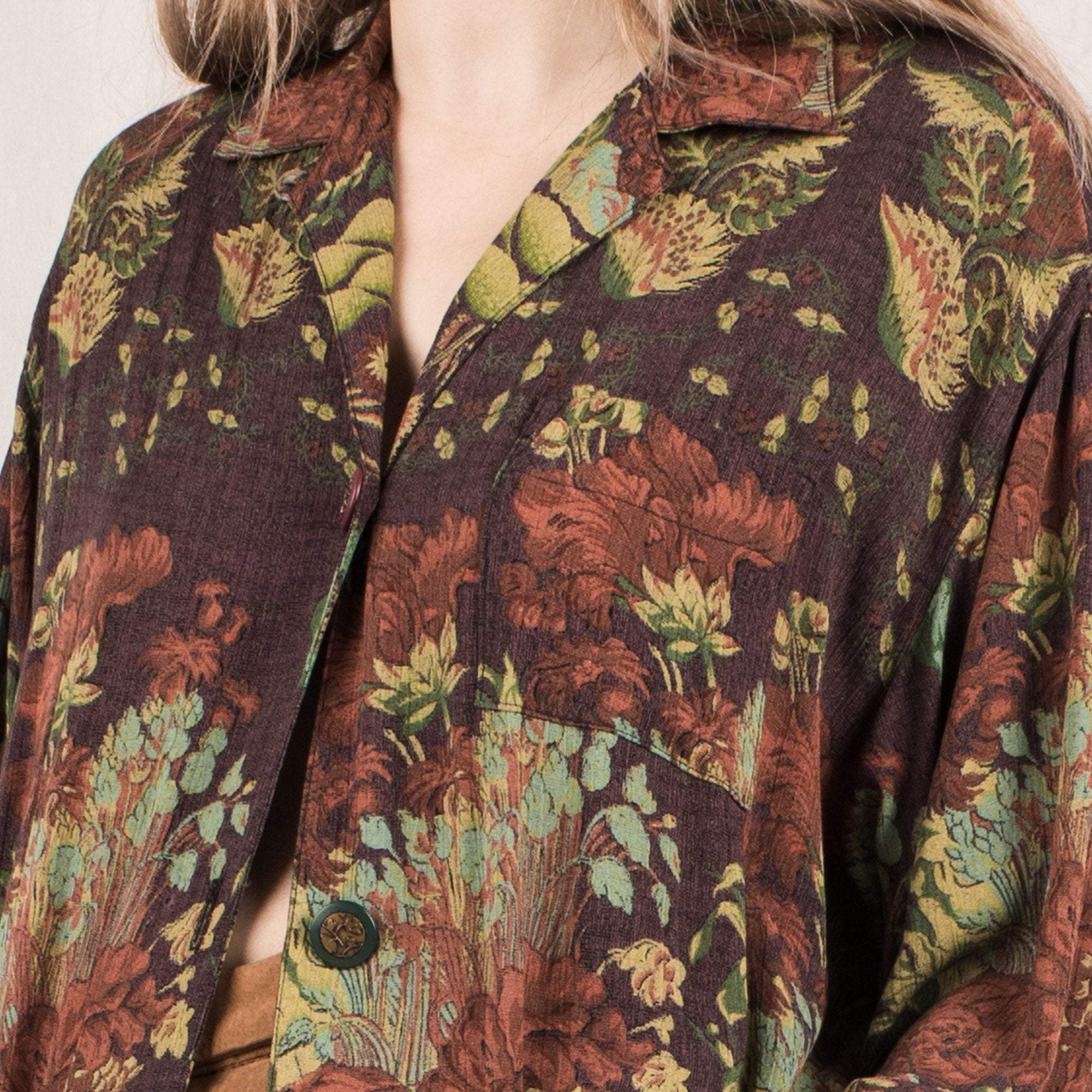Vintage Oversized Floral Light Weight Cardigan / S/M