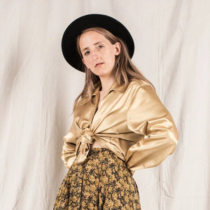 Vintage Oversized Gold Metallic Blouse / S/M