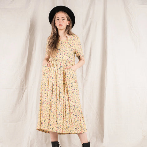Vintage Marigold Pastel Yellow 90s Smock dress / S/M