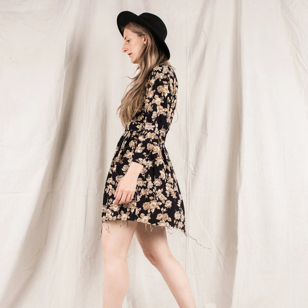 Vintage Black and Beige Rose Skater Dress / S