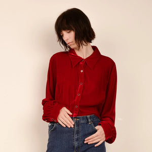 Vintage Blood Red Cropped Velvet Blouse / S/M
