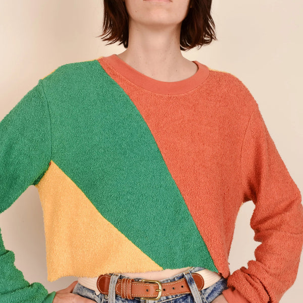 Vintage Cropped Geometric Terrycloth Sweater / S/M