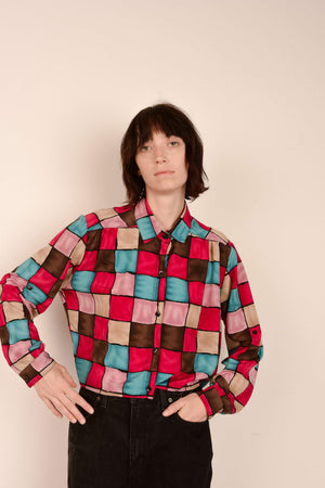 Vintage Colorful Overdyed Checked Blouse / S/M